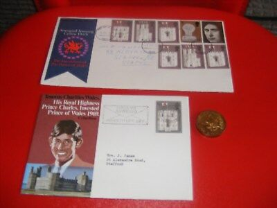 first day covers and a bronze coin