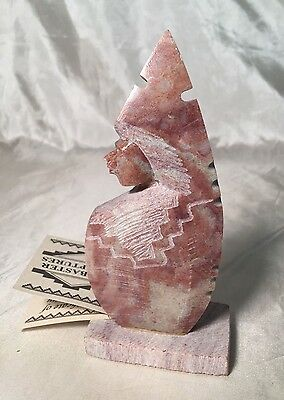 "Rare Beautiful Native American Hand Carved 4"" Alabaster Sculpture by Susie Joe"