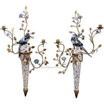 Bronze Ormolu Blue White Bird Porcelain Wall Sconce Candle Holders Parrot Set/2
