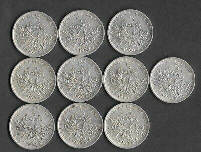 Lot De 10 Pieces Argent 5 Francs Type Semeuse