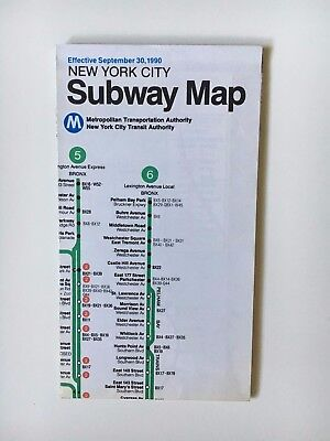 New York City Subway Map September 30 1990.Vintage Original September 1990 New York Nyc Subway Map Transit Mta Vg Condition