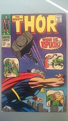 Mighty Thor # 141  Vg/fn  Jack Kirby Art  Cents  1967
