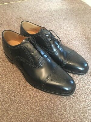 Men's Loake Black Leather Semi Brogue 10F