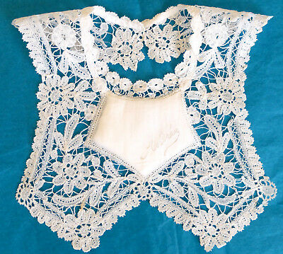 Antique/vintage Brussels Duchesse lace baby bib from France - 'Andree'