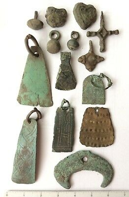 Viking original ancient 14 artifacts amulets pendants 6-9 century AD