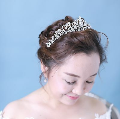 Women Bridal Princess Tiara Crown w/ Comb for Weddings Parties Special Occasions