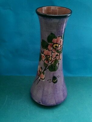 Beautiful Tall Longpark Torquay. Ware Vase With Bee And Wild Rose Decoration