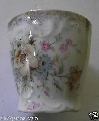 Antique Bavaria ? Floral Egg Cup Gold Trim ,flowers , Pinks  With Relief Pattern
