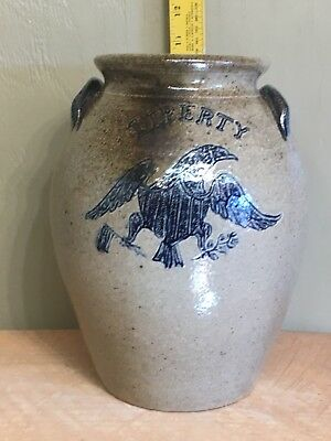 Decorated Stoneware Liberty Eagle Crock Michel Bayne Wood Fired