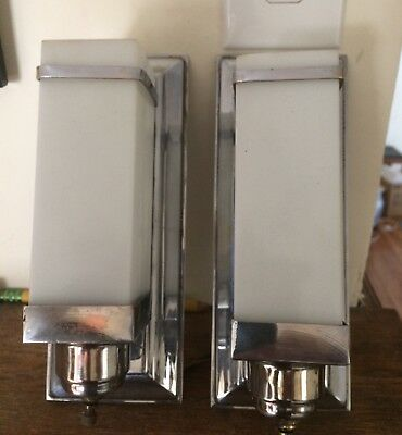 Vintage Pair Of Art Deco/modern Sconces