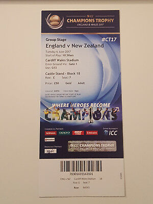 England New Zealand Champions Trophy Unused Cricket Ticket