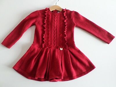 Baby girls Mayoral red knit dress (Christmas?) - 12m
