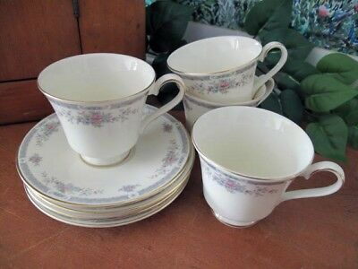 Royal Doulton REBECCA H5153 Footed Cups and Saucers ~ Four ~ circa 1989