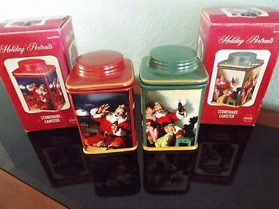 NOS 2 Coca Cola 2002  Holiday Portraits Green & Red Stoneware Canisters FREESHIP