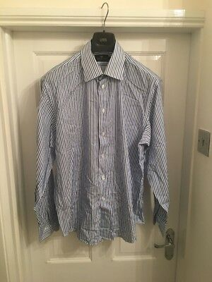 Men's Marks And Spencer Collezione Striped Shirt Blue Size 17
