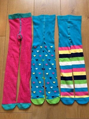 Marks & Spencer Girls Tights 3 Pairs Pink Blue Bright Stripe Spot Heart Age 5-6