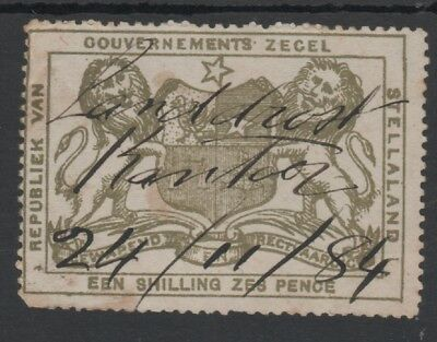 BECHUANALAND STELLALAND1886 ARMS TYPE 1/6d OLIVE GREEN REVENUE STAMP USED 1884