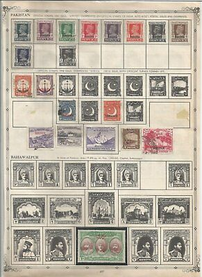 A Double Sided Album Page Of Pakistan Stamps