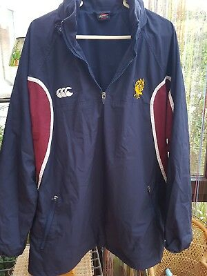 Canterbury XL WATERPROOF Rugby  pull over jacket 1/4 zip blue and maroon vgc