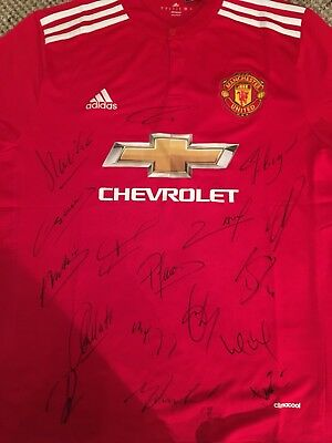 Legit Hand Signed  Man United Shirt, Pogba, Matic, Martial, De Gea, Rashford