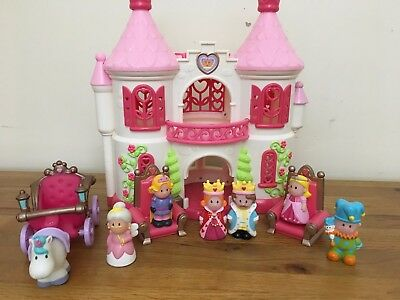 ELC Happyland Pink  Castle /  Palace & 6 Play Figures+ Carriage & Unicorn etc