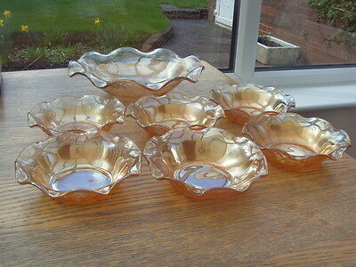 VINTAGE CARNIVAL GLASS  x 7 DESSERT DISHES/BOWLS 1930s/40s