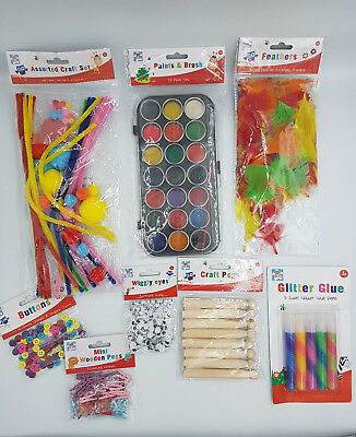 kids craft pieces paper pens pipe cleaners wobberly eyes feathers glitter paint