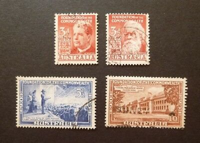 AUSTRALIA GEORGE VI 1951 COMMONWEALTH 50th ANNIVERSARY USED SET 4 STAMPS