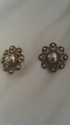 Large Mexican 925 Silver flower Design Statement Stud Earrings.
