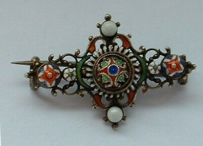 Antique Austro Hungarian Multi Coloured Enamel Small Lace Pin Brooch