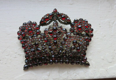 Vintage Large Garnet Crown Pin/Brooch