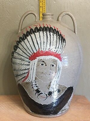 Native American Inspired Decorated Stoneware Jug Michel Bayne Wood Fired