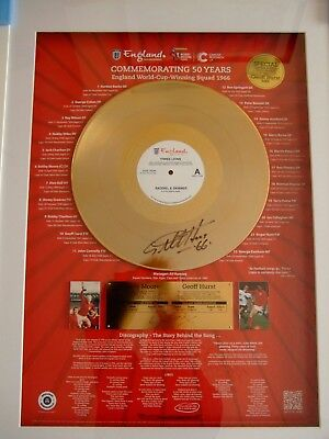 England Football 1966 Display featuring Gold Disc signed by Geoff Hurst