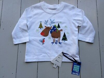 New with tags M&S Baby Boys 9-12 months long sleeve white Christmas t-shirt