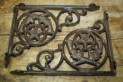 2 Cast Iron GUN Style PISTOL Brackets, Garden Braces COWBOY Shelf Bracket TEXAS