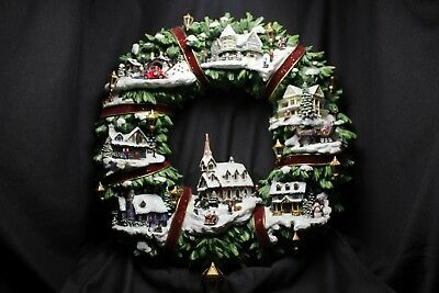 Thomas Kinkade 2005 Hawthorne Village Illuminated Wreath