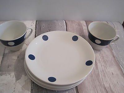 Seltmann Weiden Bavaria  Retro 60's/70's 2 Tea Cups 6 Side Plates spotted design