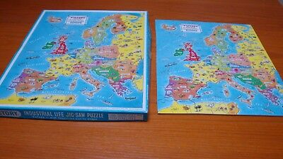 Vintage Victory Plywood Jigsaw 125 pcs Map Industrial Life in Europe.Complete.