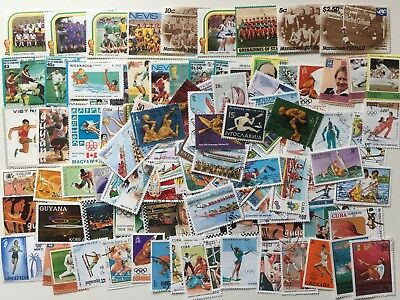 Large Lot Sport Thematics Stamps All Different