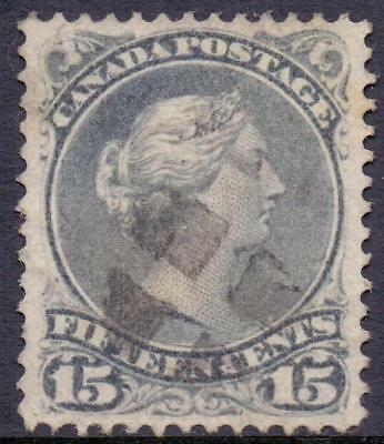 1868-70 Canada 15c Slaty Blue QV Large Head Queen Good to Fine Used
