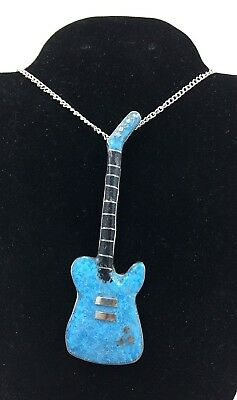 Silver and Turquoise Navajo Necklace GUITAR No Reserve Signed *H04