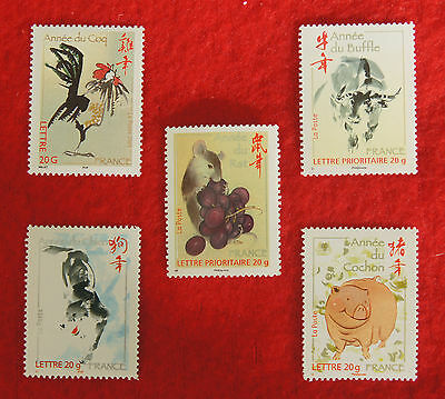 Lot de 5 timbres neufs 20g lettre prioritaire - nouvel an chinois - FRANCE