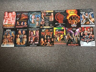 WWF/WWE PROGRAMME Set Of 14 Uk Very Rare With  Stubs,PPVS,WCW,ECW,TNA