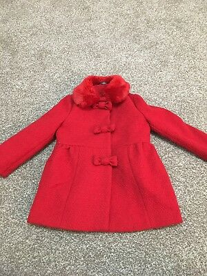 Girls Red Wool Smart Coat Age 3-4 Fab Condition