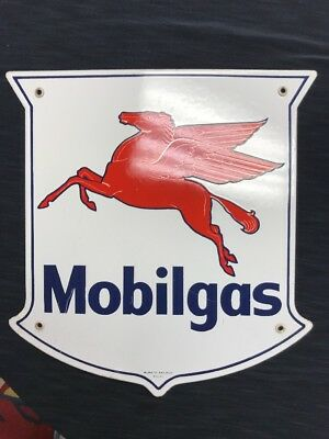 Mobilgas Gas Pump Plate-original Porcelain