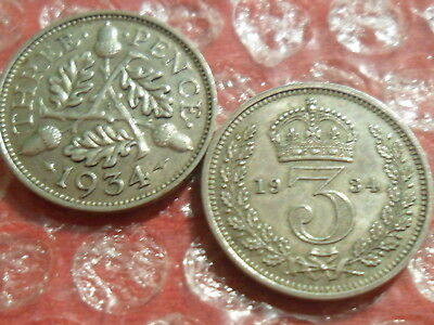 2 x 1934 George V silver threepence - [different].