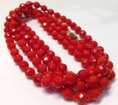 """Vintage Deco Faceted Cut Red Glass Beads Fold Over Necklace 24"""" Long"""