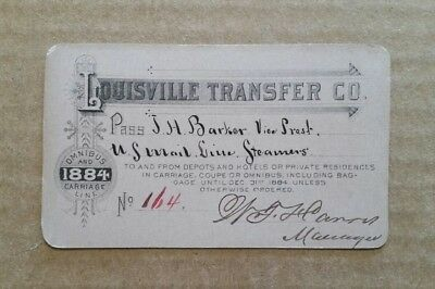 Louisville Transfer Co.Omnibus & Carriage Line Pass,1884