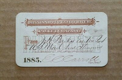 Mississippi & Yazoo River Packet Co. Pass,1885