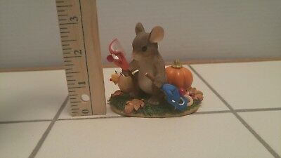 """Charming Tails """"PUT ON A HAPPY FACE"""" Fitz Floyd Mouse Figurine HALLOWEEN"""